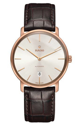 RADO DiaMaster Automatic Leather Strap Watch, 41mm