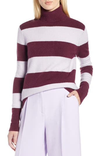 Halogen® x Atlantic-Pacific Stripe Turtleneck Sweater