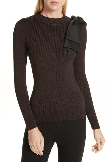 Ted Baker London Lizziia Bow Trim Shimmer Sweater