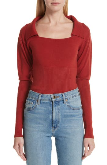 Jacquemus Square Neck Wool Polo Sweater