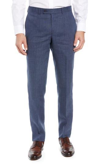 Nordstrom Men's Shop Flat Front Mélange Linen Trousers