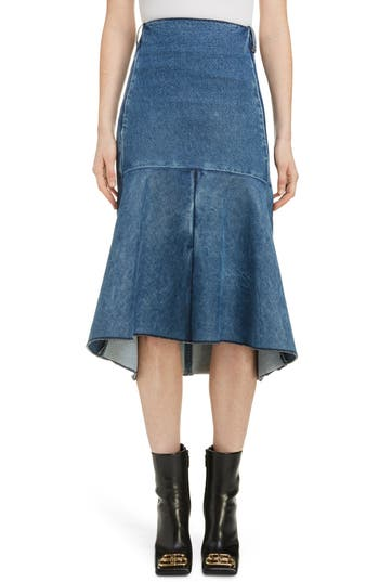 Balenciaga 3D Molded Flare Hem Denim Midi Skirt