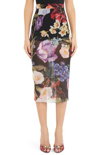Dolce&Gabbana Floral Print Sheer Silk Pencil Skirt