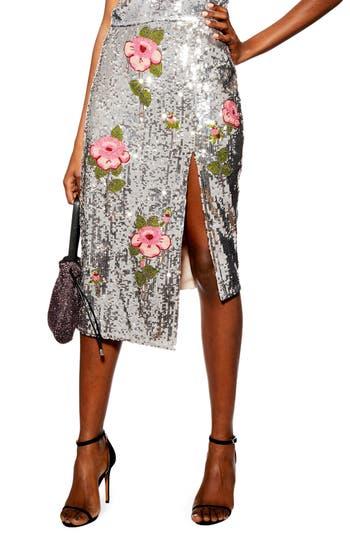 Topshop Flower Embellished Sequin Midi Skirt