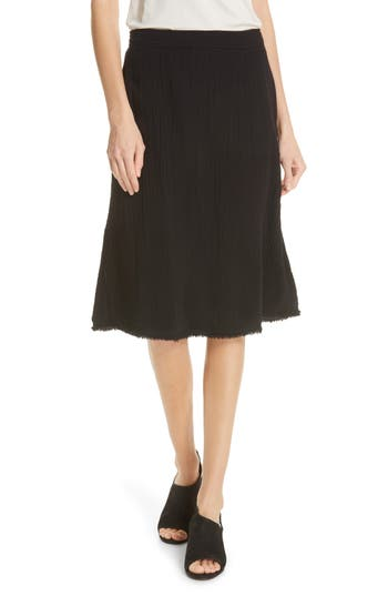 Eileen Fisher Crinkled Organic Cotton Skirt