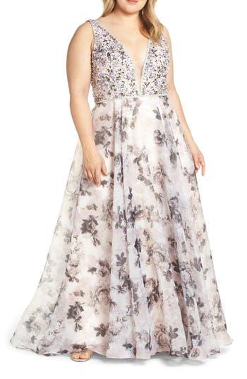 Mac Duggal Floral Print Illusion V-Neck Evening Dress