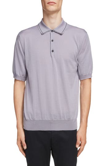 Lanvin Piped Collar Wool Polo