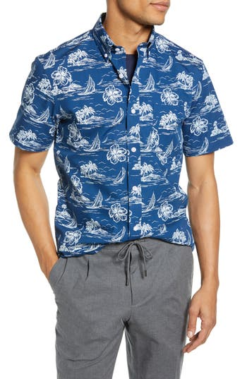 1901 Tropical Print Cotton Sport Shirt