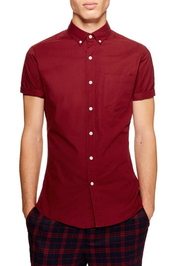 Topman Skinny Fit Stretch Oxford Shirt
