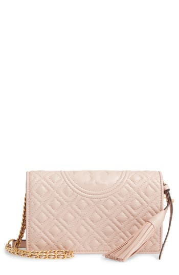 Tory Burch Fleming Lambskin Leather Crossbody Wallet