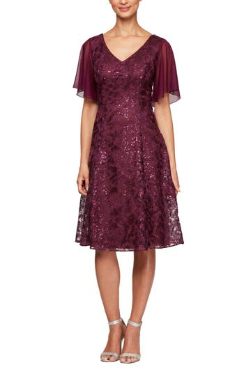Alex Evenings Flutter Sleeve Sequin Lace A-Lined Dress (Regular & Petite)