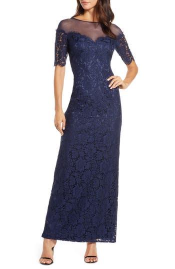 Eliza J Illusion Top Lace Evening Gown (Regular & Petite)