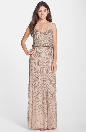 Adrianna Papell Beaded Chiffon Blouson Gown, Beige