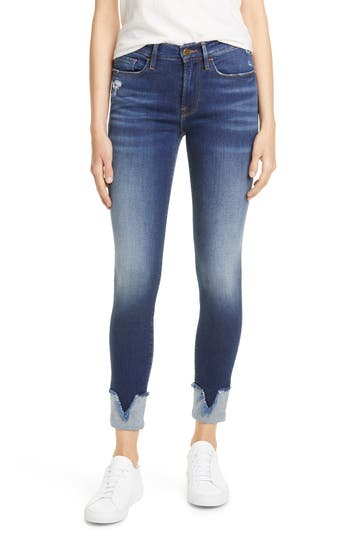 FRAME Le Skinny de Jeanne Reverse V-Cuff Ankle Jeans (Victory Boulevard)