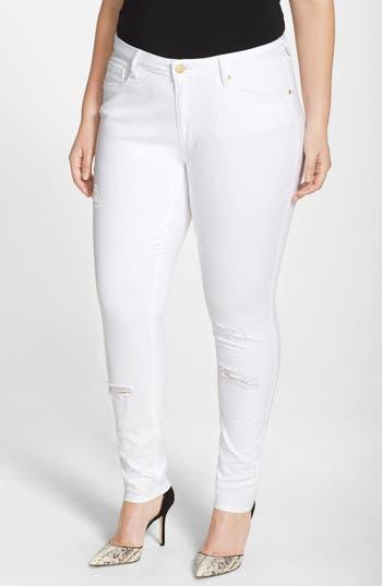 'Maya' Destroyed White Skinny Jeans