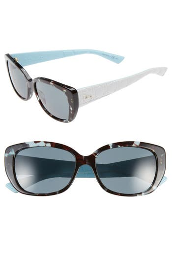 Dior Lady 55Mm Cat Eye Sunglasses - Green/ Havana/ White/ Blue