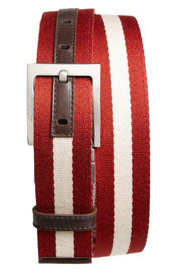 Bally 'Tonni' Stripe Canvas & Leather Belt