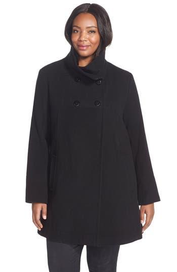 Plus Size Larry Levine Wool Blend A-Line Babydoll Coat, Black