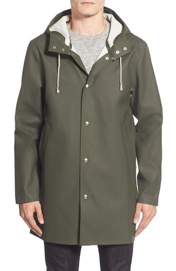 Men's Stutterheim Stockholm Waterproof Hooded Raincoat, Size X-Large - Green