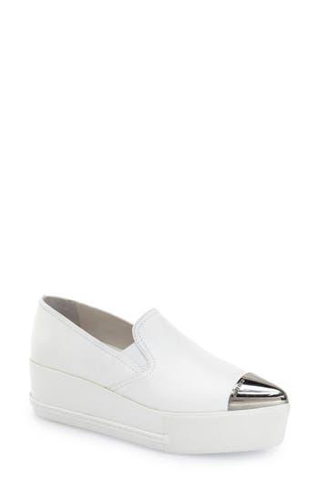 Miu Miu Metal Cap Toe Platform Sneaker, White