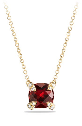 Women's David Yurman 'Châtelaine' Pendant Necklace With Semiprecious Stone And Diamonds In 18K Gold