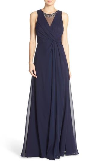 Eliza J Embellished Chiffon Fit & Flare Gown