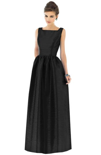 Alfred Sung Square Neck Dupioni Full Length Dress, Black