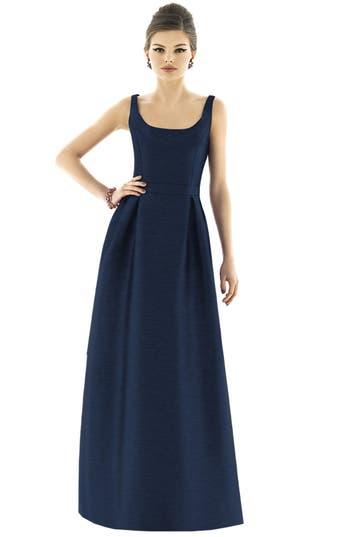 Alfred Sung Scoop Neck Dupioni Full Length Dress, Blue