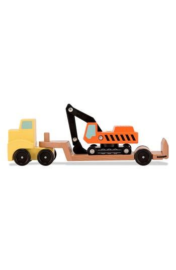 Boys Melissa  Doug Wooden Vehicle Carrier  Excavator