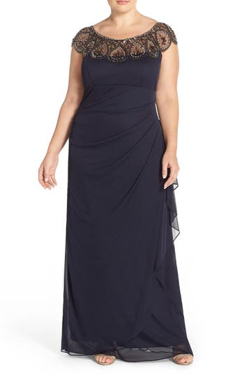 Plus Size Xscape Beaded Neck Empire Gown, Blue