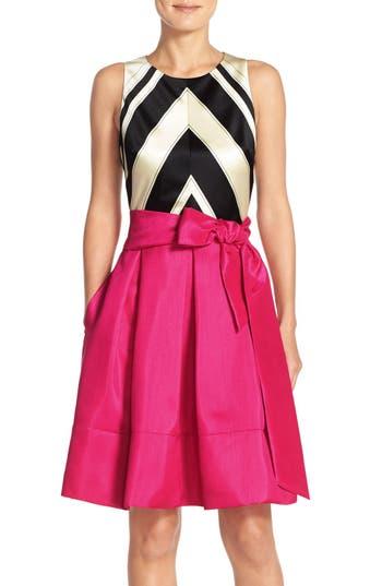 Eliza J Faille & Taffeta Fit & Flare Dress