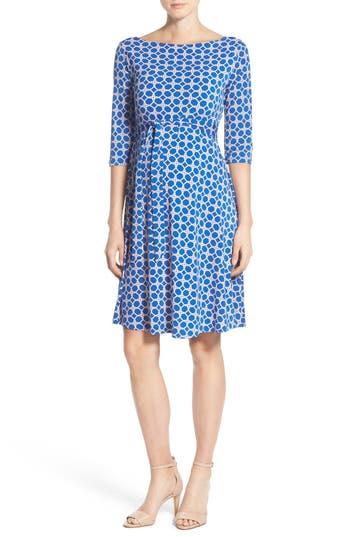 Women's Leota 'Ilana' Belted Maternity Dress, Size X-Small - Blue