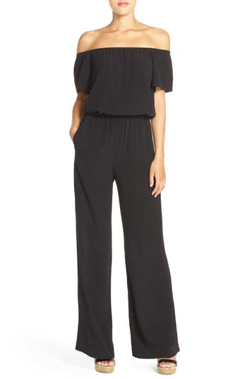 Charles Henry Off the Shoulder Wide Leg Jumpsuit