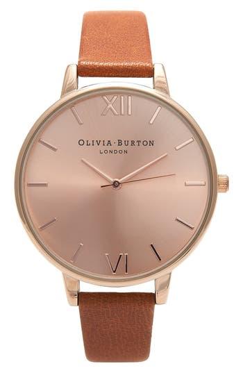 Women's Olivia Burton Big Dial Leather Strap Watch, 38Mm