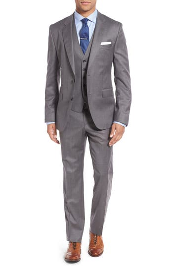 Men's Boss 'Johnstons/lenon/we' Trim Fit Three-Piece Solid Wool Suit