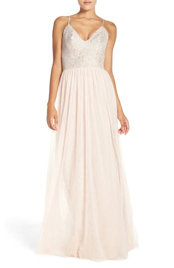Hayley Paige Occasions Metallic Lace & Tulle Spaghetti Strap Gown
