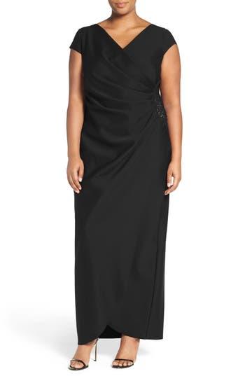 Plus Size Alex Evenings Embellished Side Pleat Column Gown