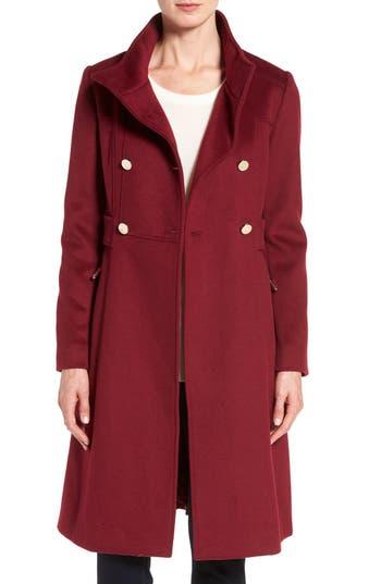 Women's Eliza J Wool Blend Long Military Coat, Size 0 - Red