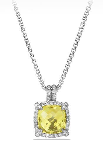 Women's David Yurman 'Châtelaine' Small Pavé Bezel Pendant Necklace With Diamonds