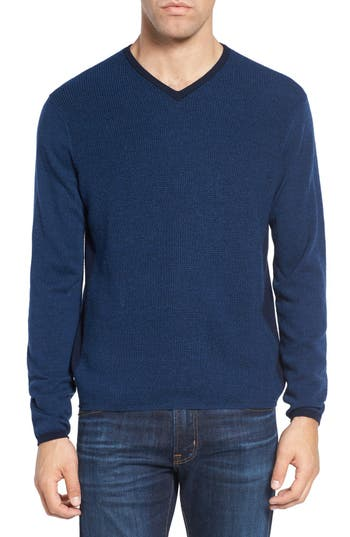 Zachary Prell V-Neck Colorblock Merino Wool Pullover
