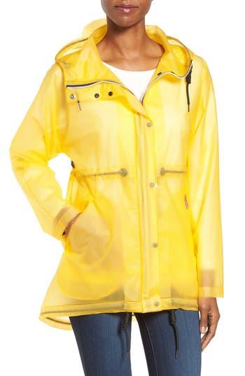 Women's Hunter 'Original Smock' Hooded Drawstring Waterproof Jacket, Size Large - Yellow