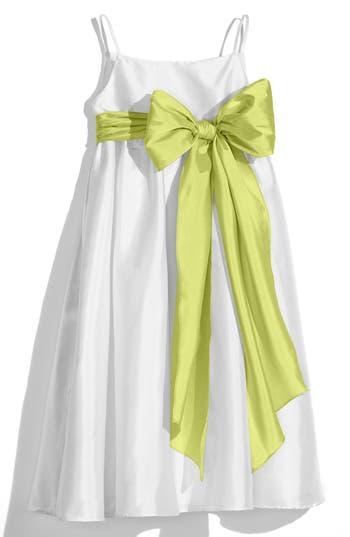 Girl's Us Angels White Sleeveless Empire Waist Taffeta Dress, Size 4 - Green