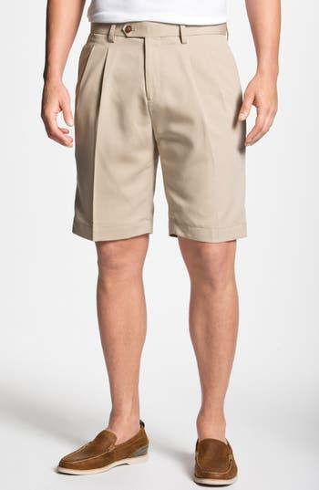Big & Tall Cutter & Buck Double Pleated Microfiber Twill Shorts, Beige