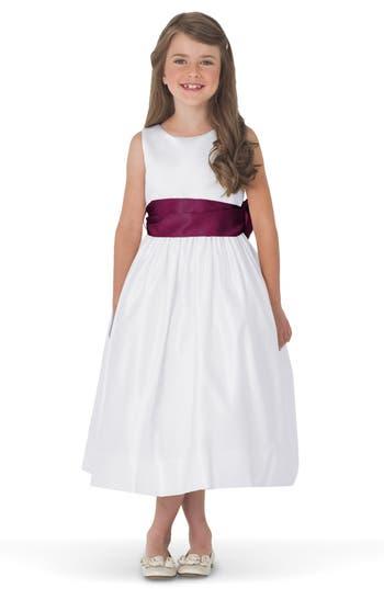 Girls Us Angels White Tank Dress With Satin Sash Size 8  Burgundy