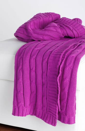 Rizzy Home Cable Knit Cotton Throw, Size One Size - Pink