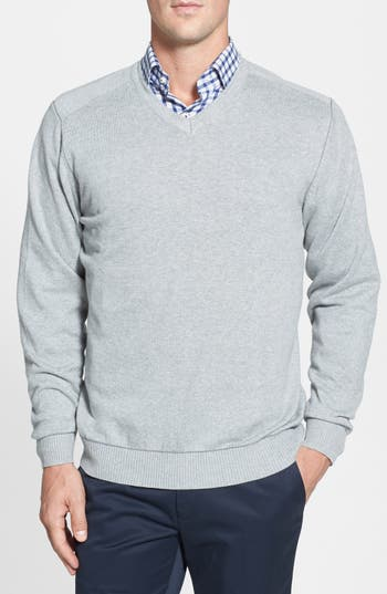 Big & Tall Cutter & Buck Broadview V-Neck Sweater - Grey