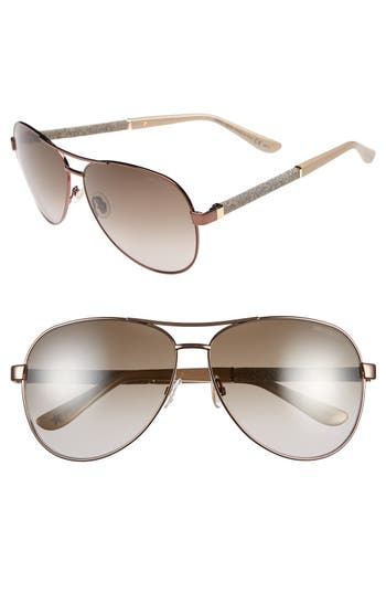 Jimmy Choo 61Mm Aviator Sunglasses - Bronze