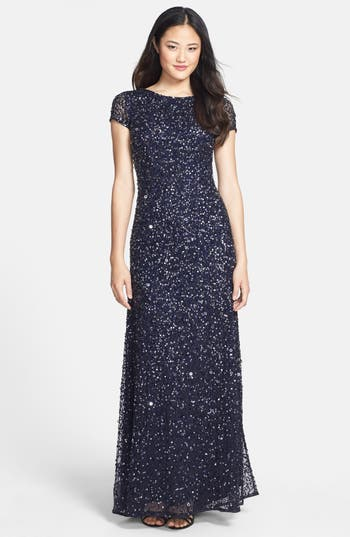 Adrianna Papell Short Sleeve Sequin Mesh Gown, Blue