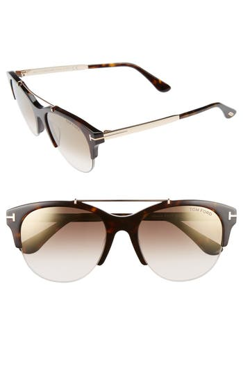 Tom Ford Adrenne 55Mm Sunglasses - Havana/ Rose Gold/ Brown