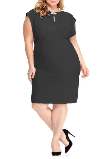 Plus Size London Times Embellished Empire Waist Dress